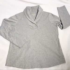 LL Bean Long Sleeved Cotton Grey Shirt Large
